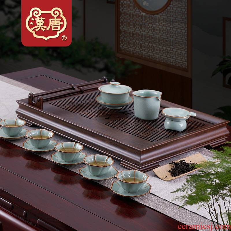 Han and tang dynasties of household solid wood tea tray tray drawer storage tea sets of kung fu tea set dry mercifully tea saucer