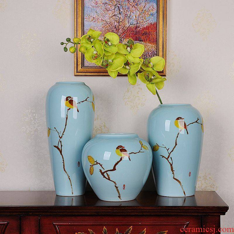 Jingdezhen ceramics hand - made three - piece suit modern household of Chinese style of freehand brushwork sitting room porch ark, handicraft furnishing articles
