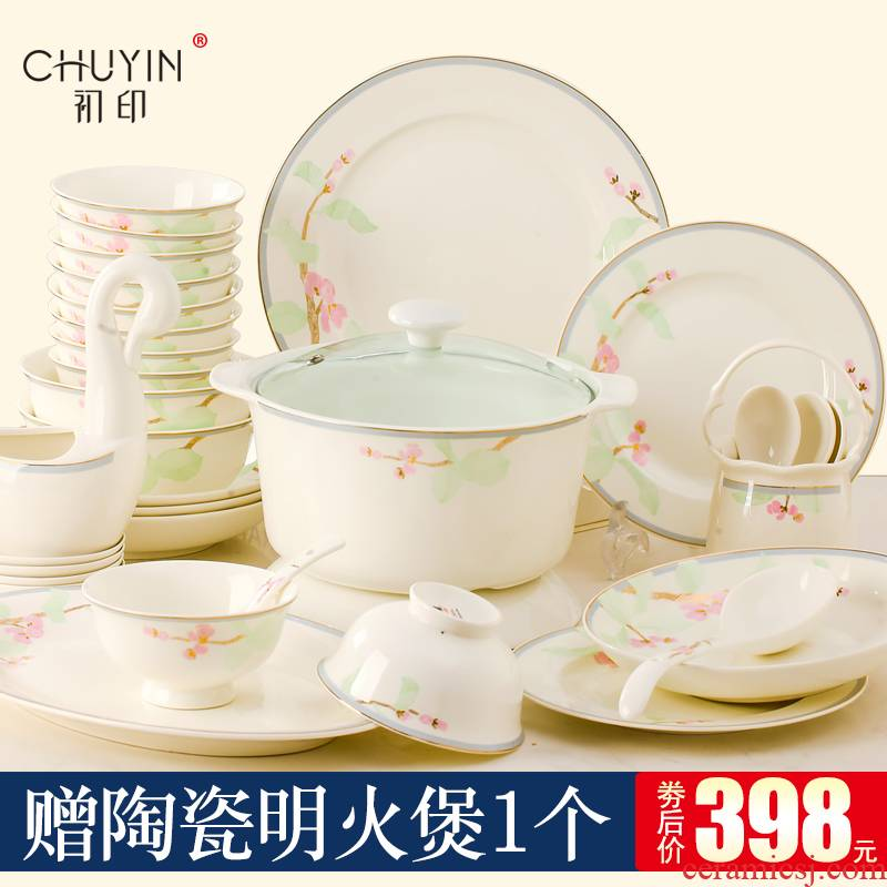 Dishes suit household ipads porcelain tableware European - style up phnom penh contracted jingdezhen ceramic bowl Dishes chopsticks gift combination