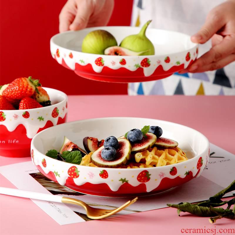 Ceramic dish dish dish household food dish creative web celebrity deep dish FanPan lovely strawberry salad bowl tableware portfolio