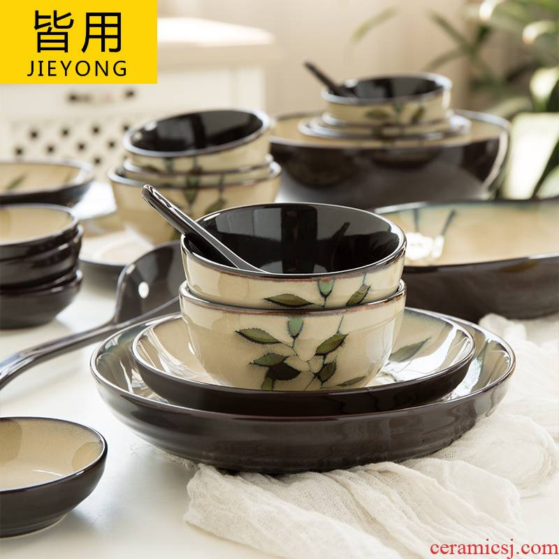 Japanese dishes suit household contracted 2 people 10 bowl dish combination retro up creative ceramic tableware