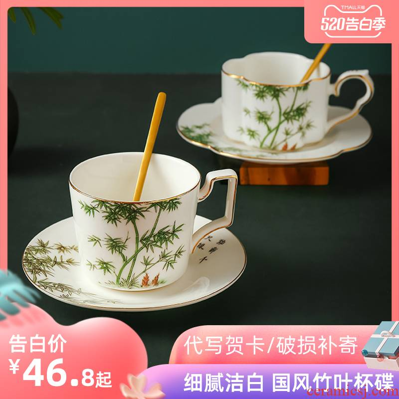 Ceramic coffee cup small European - style key-2 luxury elegant ipads China coffee cups and saucers on the afternoon of camellia tea cups