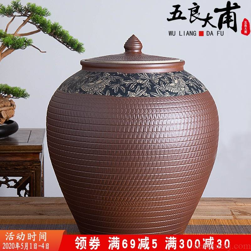 Jingdezhen ceramic barrel of flour bucket home 20 jins 50 kg 100 jins with cover insect - resistant moisture storage m as cans