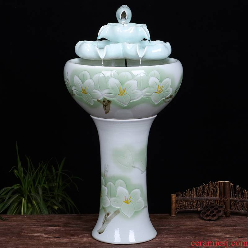 Ceramic floor pillar type tank basin large fish bowl lotus lotus lotus tortoise household gardens furnishing articles