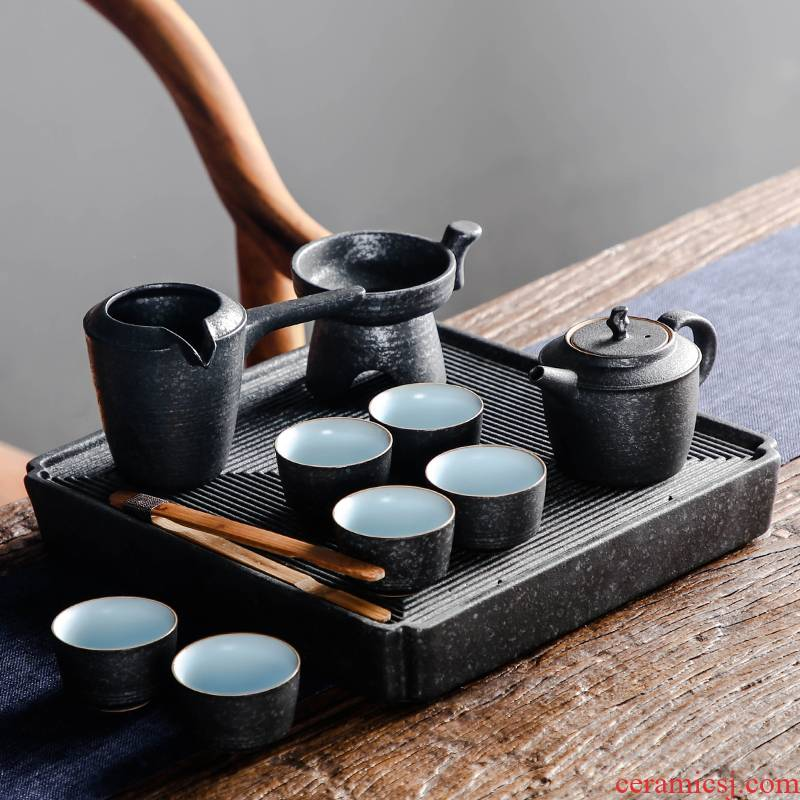 Bo yiu-chee coarse pottery kung fu tea set suit Japanese household contracted ceramic tea set tea tray of a complete set of the teapot tea now