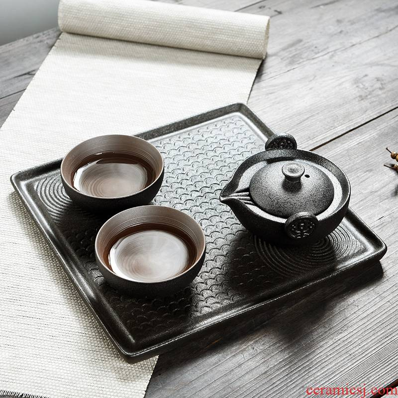Japanese porcelain god contracted crack cup travel a pot of two cups of household ceramic tea tray was portable kung fu tea set