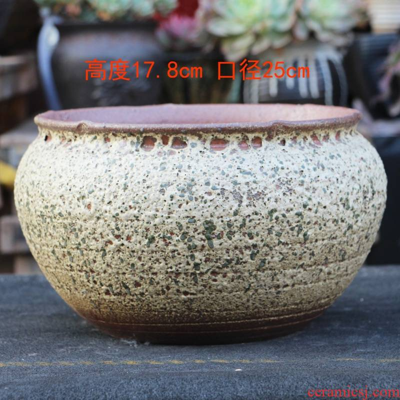 Large caliber basin to the old running of meat the plants more breathable purple sand pottery pot ou feng special Large antique do old Jane