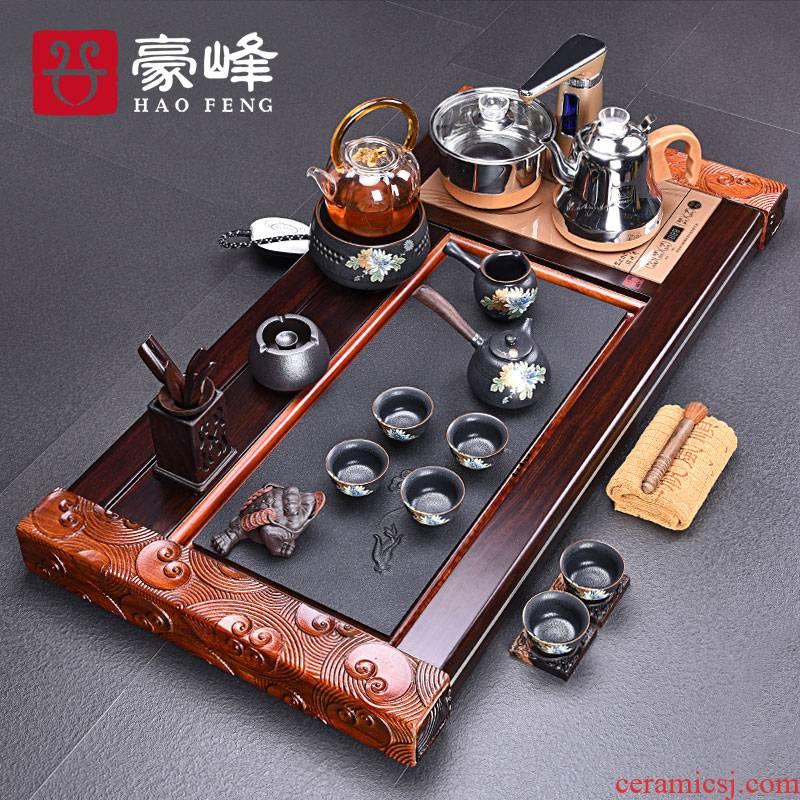 HaoFeng purple sand tea set home four unity automatically ebony tea tray was kung fu tea tea tea