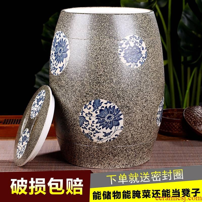 Jingdezhen ceramic barrel 10 jins 20 jins barrel with a lid ricer box tank 30 kg rice jar of oil cylinder
