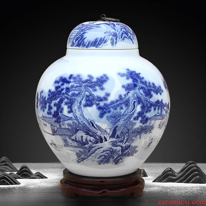 Blue and white porcelain of jingdezhen ceramics storage tank lotus seed tank sitting room adornment can restore ancient ways furnishing articles with cover copper ring