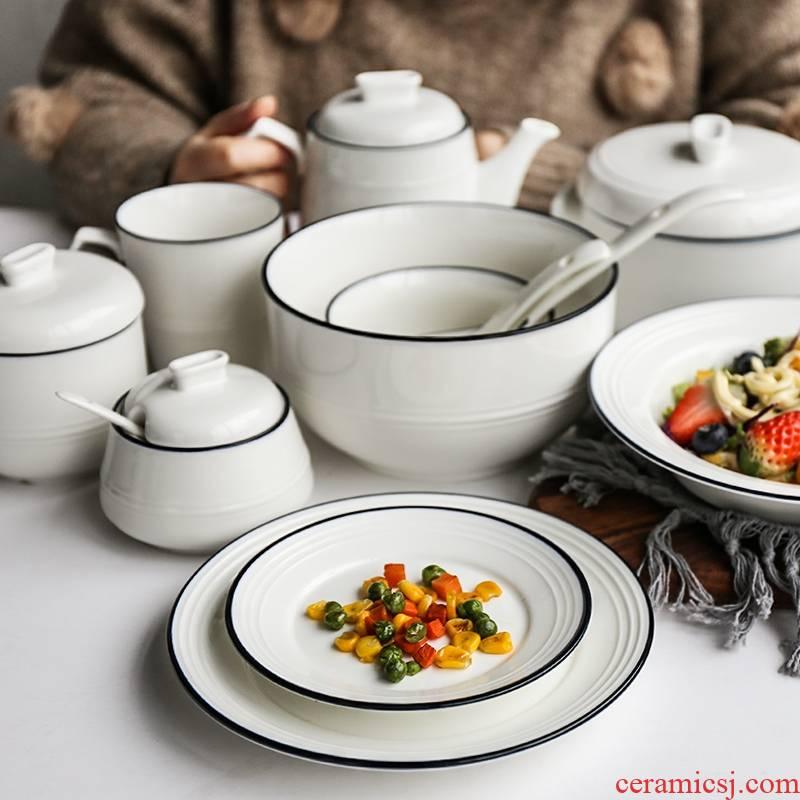 Selley rural wind blue edge ceramic household 0 m jobs stew soup plate plates rainbow such as bowl tea spoon
