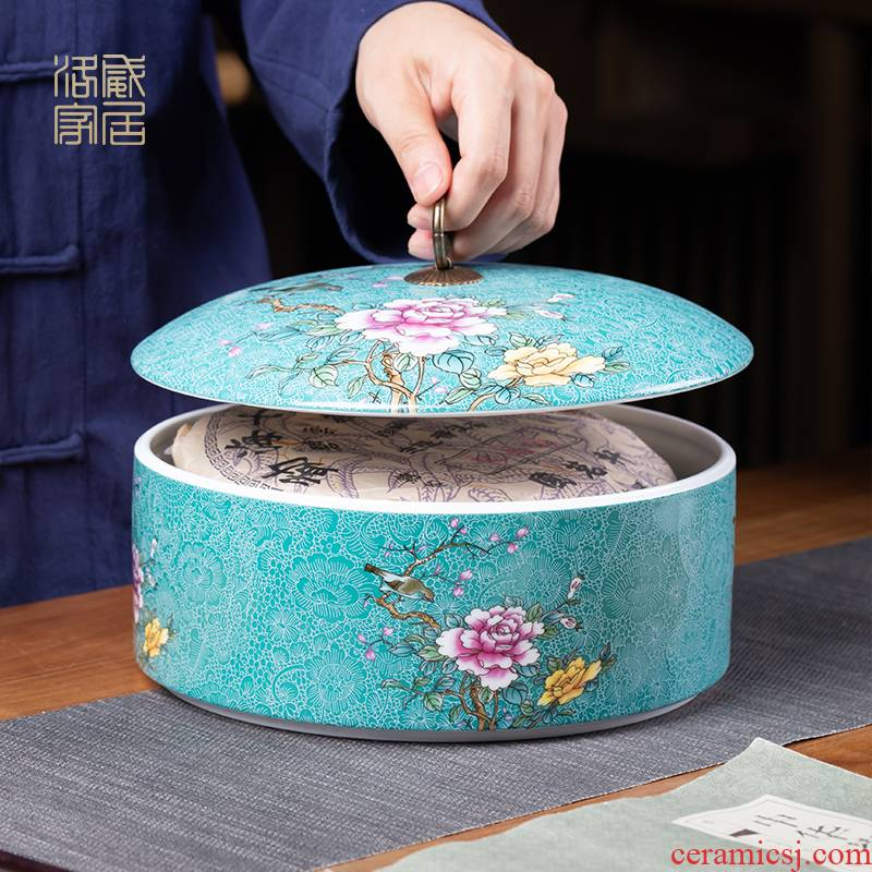 , pick flowers, jingdezhen ceramic tea pot large wake receives pu white tea tea cake storage POTS sealed as cans