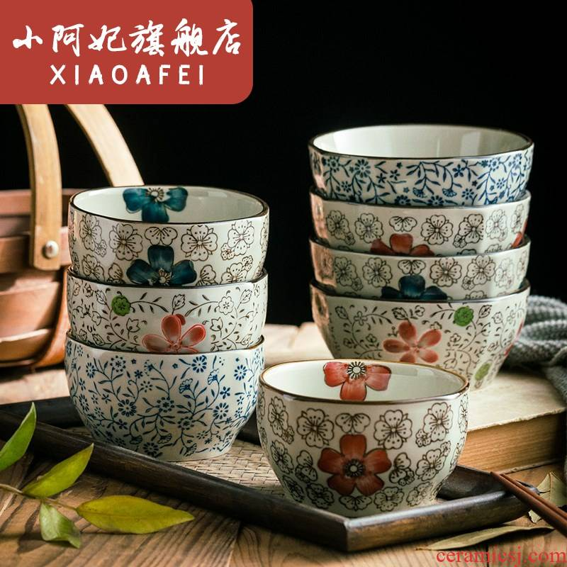 ; Japanese ceramic bowl irregular creative square bowl of rice bowls to eat bowl bowl restaurant tableware little move