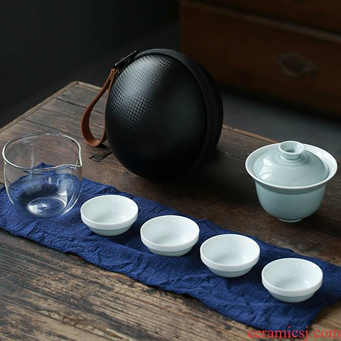 Ya xin ru up travel single Japanese a pot of tea set suit portable ceramic crack cup 2 cups the receive package