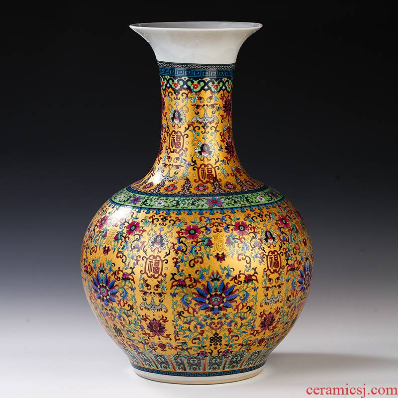 Jingdezhen ceramics European - style colored enamel of large vases, flower, flower arranging, the sitting room TV ark adornment furnishing articles
