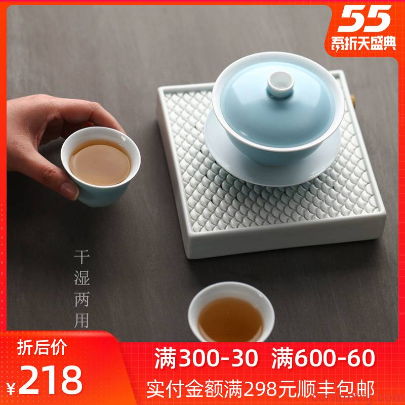 Bright product white porcelain water dry ground station square pot bearing tea sea jingdezhen kung fu tea accessories have pot pad