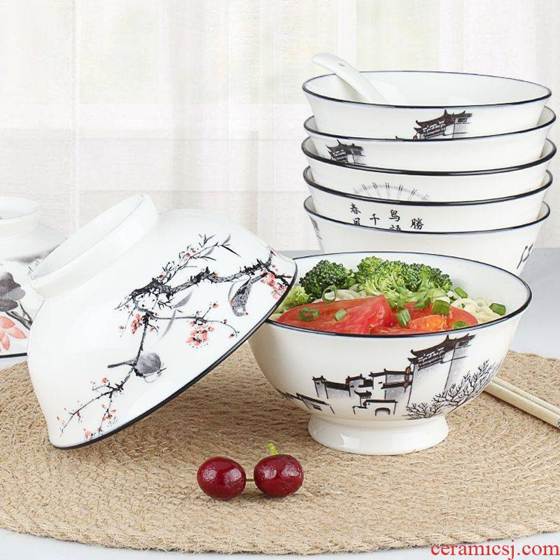 Individual household ceramics 6 inch bowl bowl of soup bowl stewed noodles bowl ltd. Chinese creative cutlery set high iron