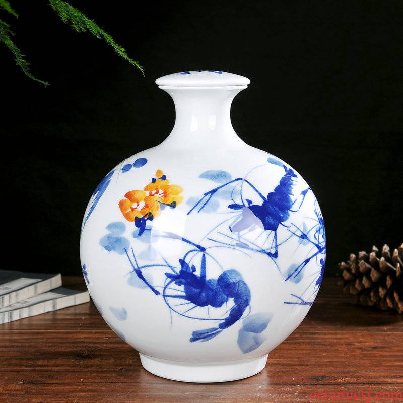 Jingdezhen hand - made ceramic bottle seal tank 10 jins to household adornment bulk wine with cover mercifully medicine