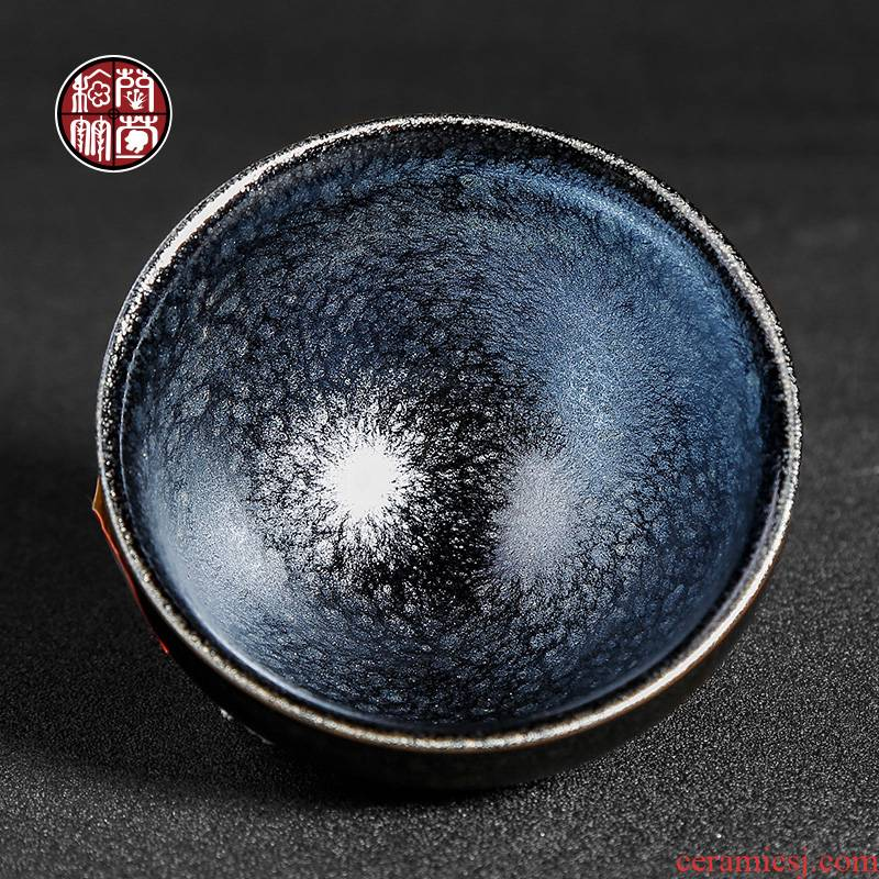 Jianyang undressed ore built one kung fu master single glass ceramic cups of tea cups of tea light silver nano droplets baihua temmoku lamp