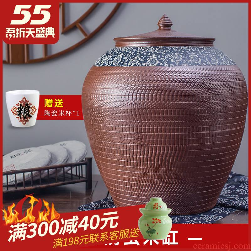 Ceramic barrel ricer box 50 kg 100 jins of 20 home with cover of jingdezhen storage rice jar of pickles buckets of water oil cylinder