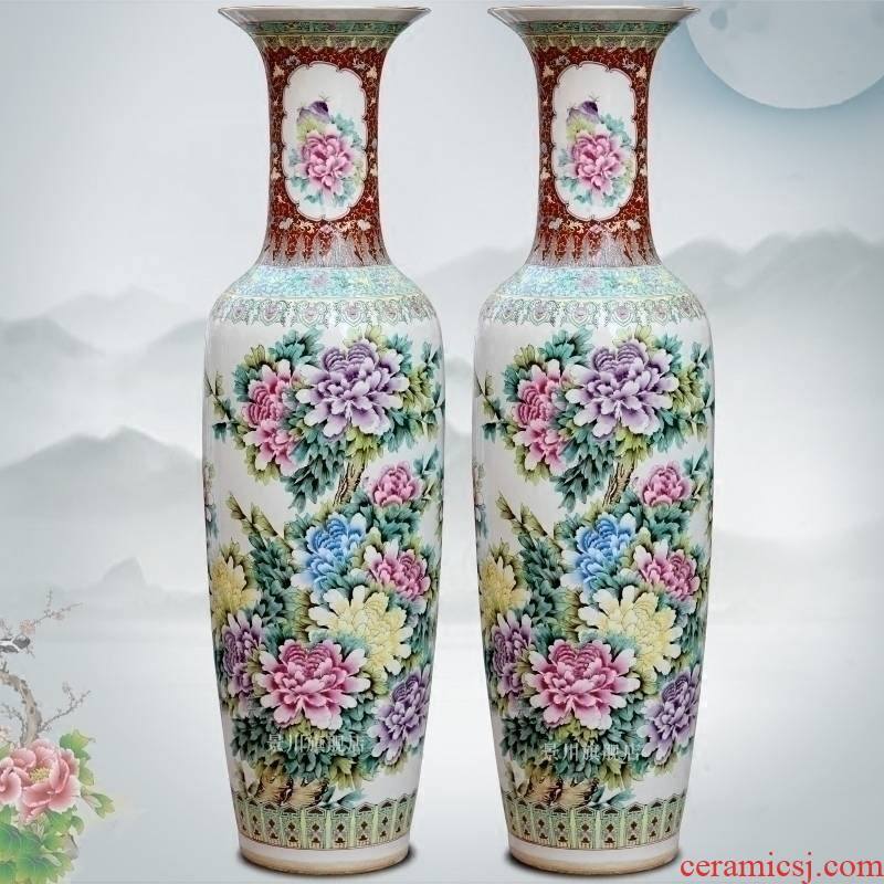 Jingdezhen ceramics hand - made archaize pastel peony Chinese style of large vase vases sitting room adornment is placed