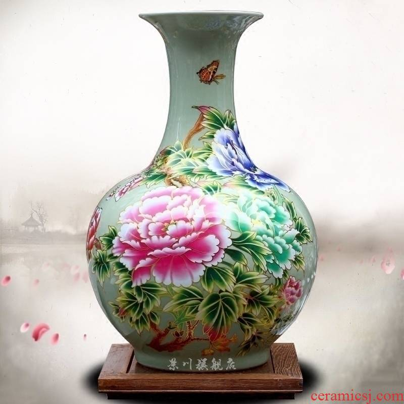 Jingdezhen ceramic auspicious riches and honor peony to admire the vase vase household living room office mesa study large furnishing articles