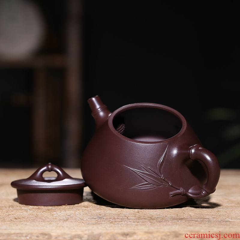 Yixing it pure manual stone gourd ladle undressed ore old purple clay teapot kung fu tea cup teapot bamboo