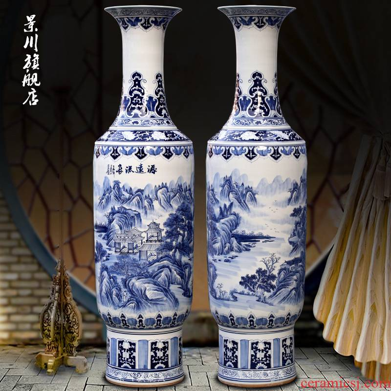 Jingdezhen blue and white porcelain has a long history in the hand - made ceramic vases, sitting room of Chinese style of large household furnishing articles