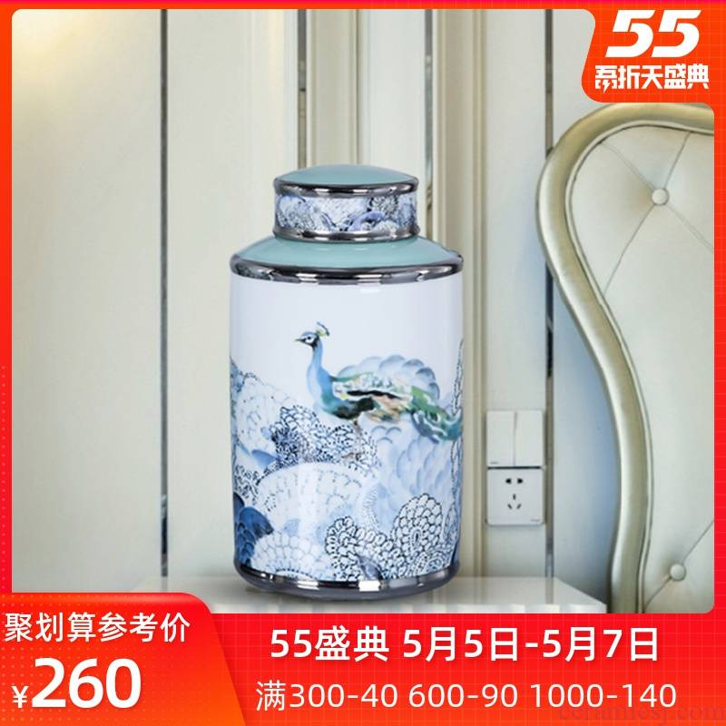 Jingdezhen ceramic vases, flower implement of new Chinese style storage tank sitting room adornment candy jar porch soft furnishing articles by the peacock
