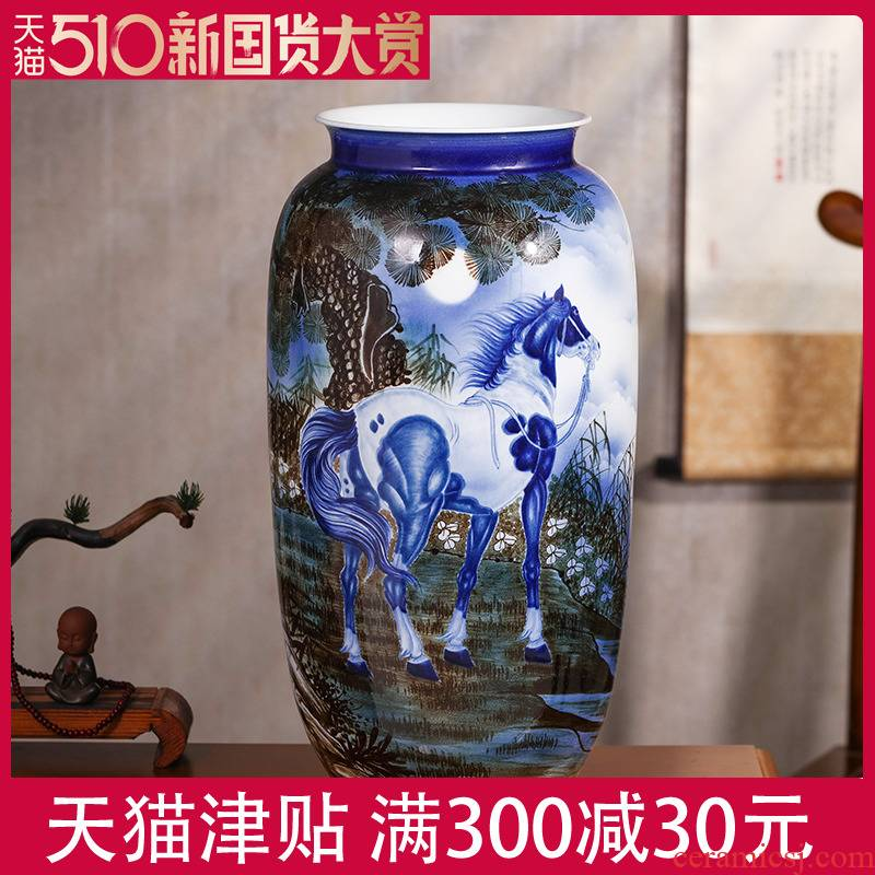 Antique hand - made of blue and white porcelain vase stateroom rich ancient frame decorative furnishing articles of jingdezhen ceramic art housewarming gift