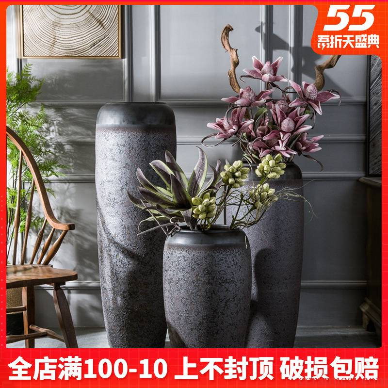 Ceramic heavy ground vase jingdezhen hotel lobby furnishing articles furnishing articles pottery flower arranging device villa the mock up room