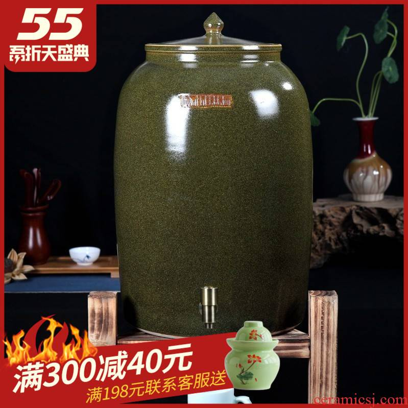 Ceramic jars it oil cylinder storage tank 50 kg 100 jins of the big bucket of jingdezhen tea at the end of the cylinder with the tap