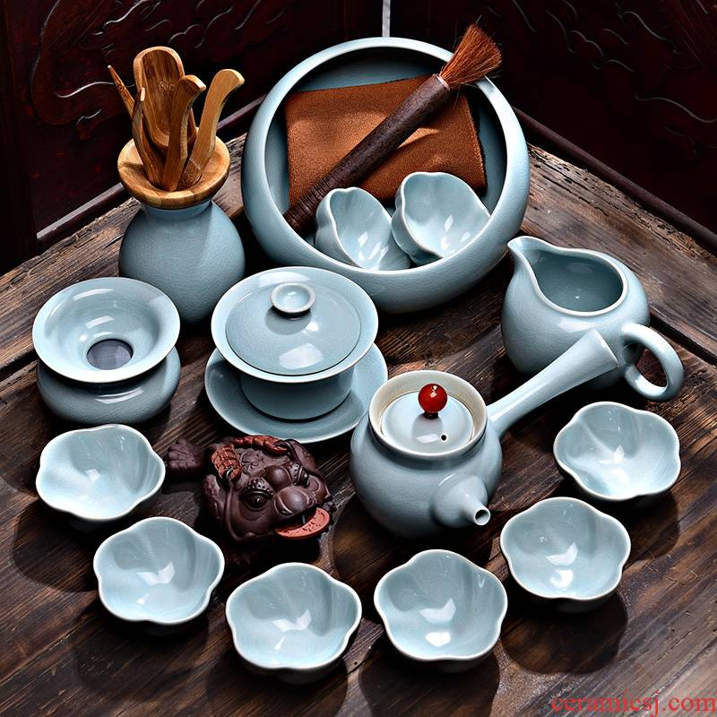 Tao blessing the azure suits for your up tea sets of household of a complete set of your porcelain piece of kung fu tea teapot teacup combination