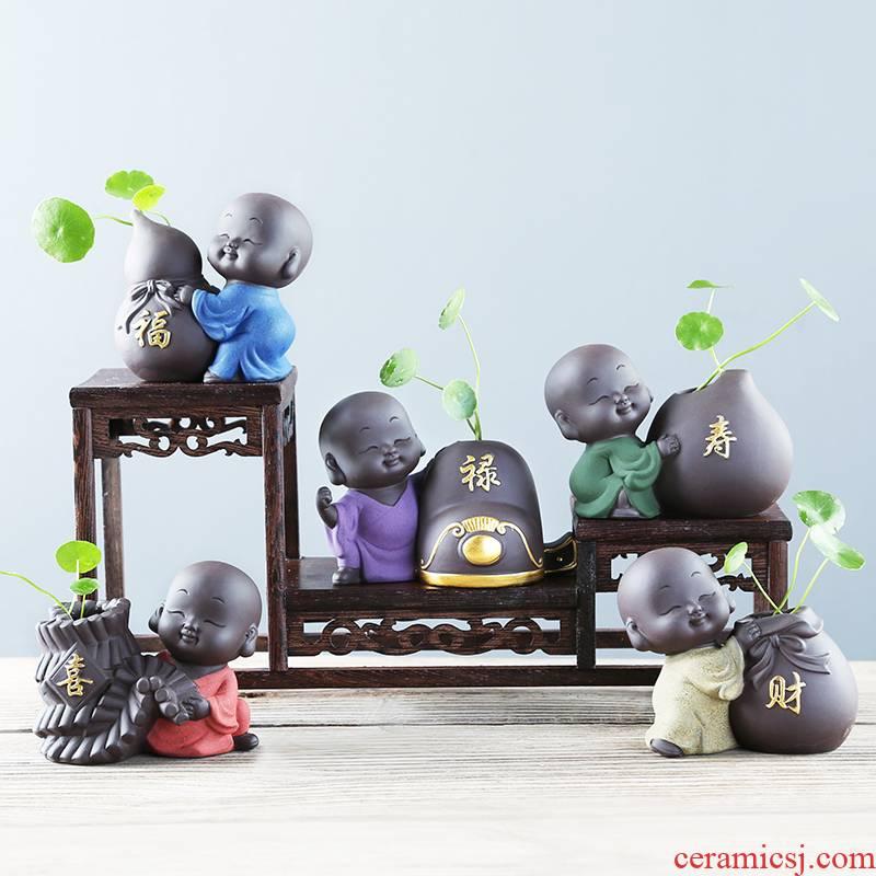 Zen ideas purple little monks mini hydroponic flower pot move desktop small place, a ceramic tea table vase