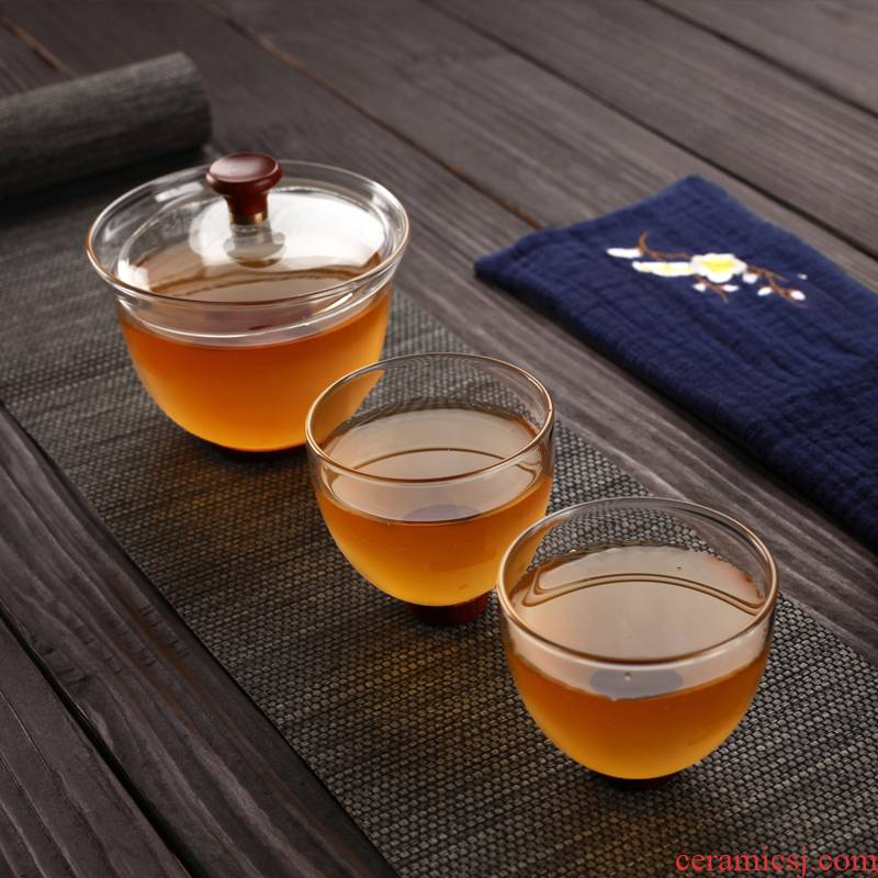 Morning high tureen thickening heat - resistant glass kung fu tea set three cups tureen large bowl
