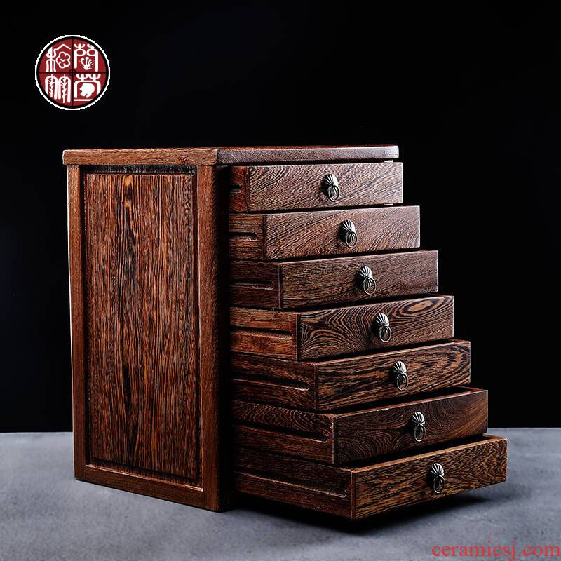 Wenge puer tea box points tea box seven cakes tea cake boxes of household solid wood, multi - layer the draw - out type tea storage cabinet