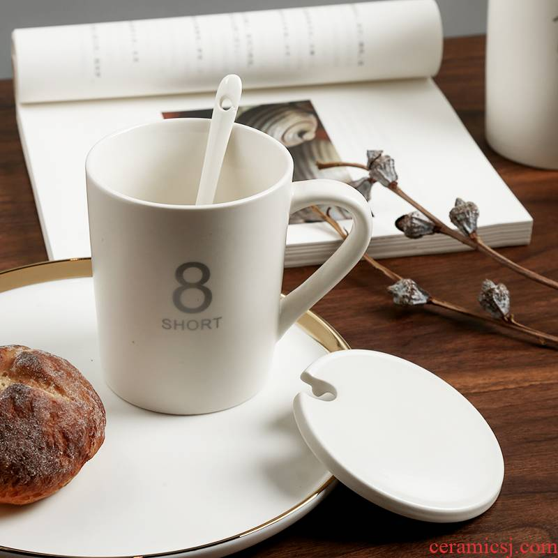 Mark cup ceramic cup large capacity with cover the Nordic ins breakfast cup of creative move household oat milk cup