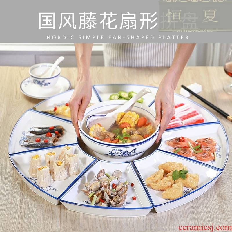 Orchid creative ceramics sector 0 plate combination the platter tableware big platter household table reunion meal