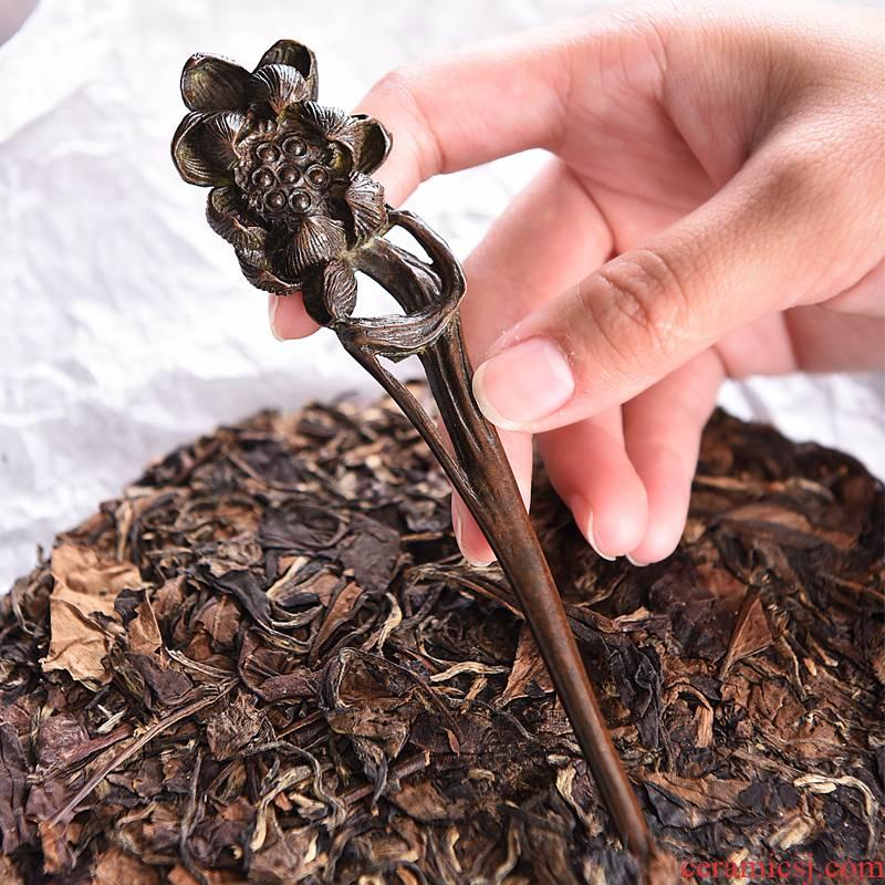 Sapphire hin manual vintage copper ChaZhen pried pu 'er tea tea cake knife using kung fu tea set and accessories lotus tea cone