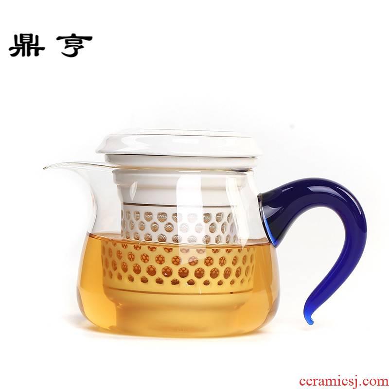 Ding heng fair heat - resistant glass tea cup upset points is kung fu tea set with ceramic filter large tea tea