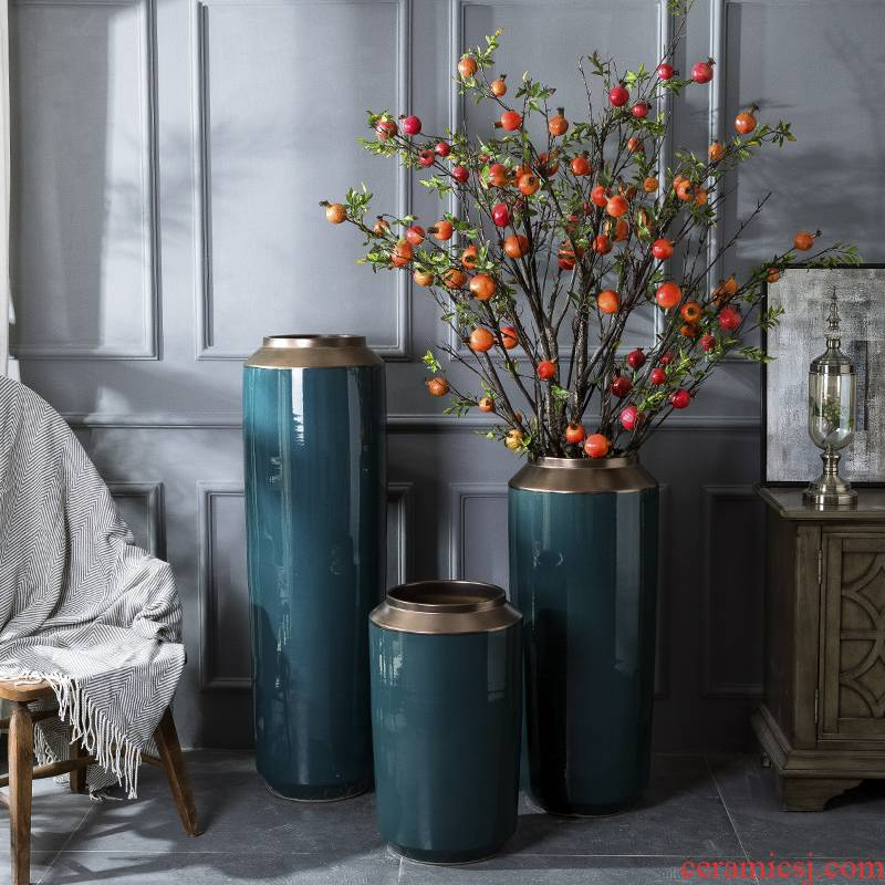 Light the key-2 luxury of I and contracted big green ceramic vase furnishing articles new Chinese flower arranging jingdezhen flower implement household living room