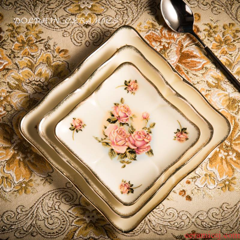 High - grade ceramic tableware sifang snack plate light type plate flat side dish dish dish Korean queen gold rose