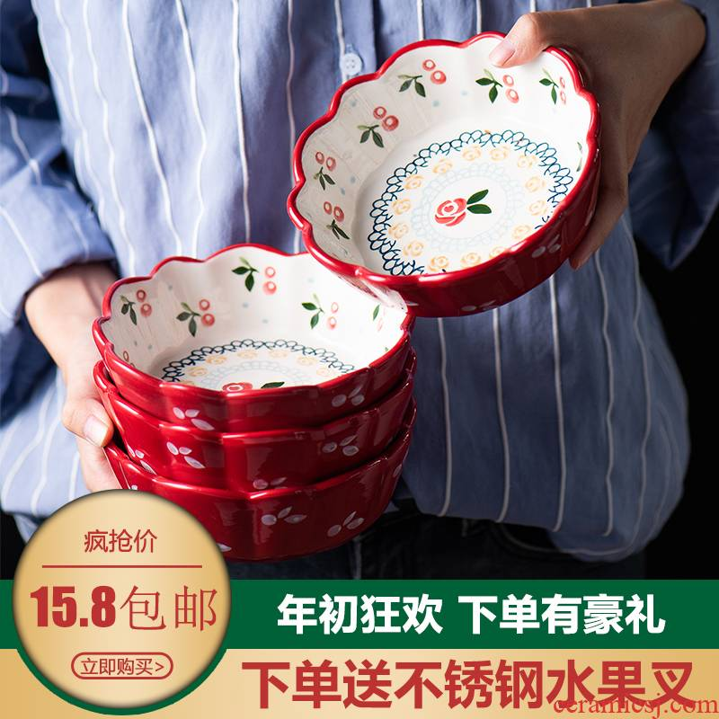 Jingdezhen retro hand - made ceramic cherry small bowl of salad bowl sauce bowl home baby to assist the food bowl of fruit bowl