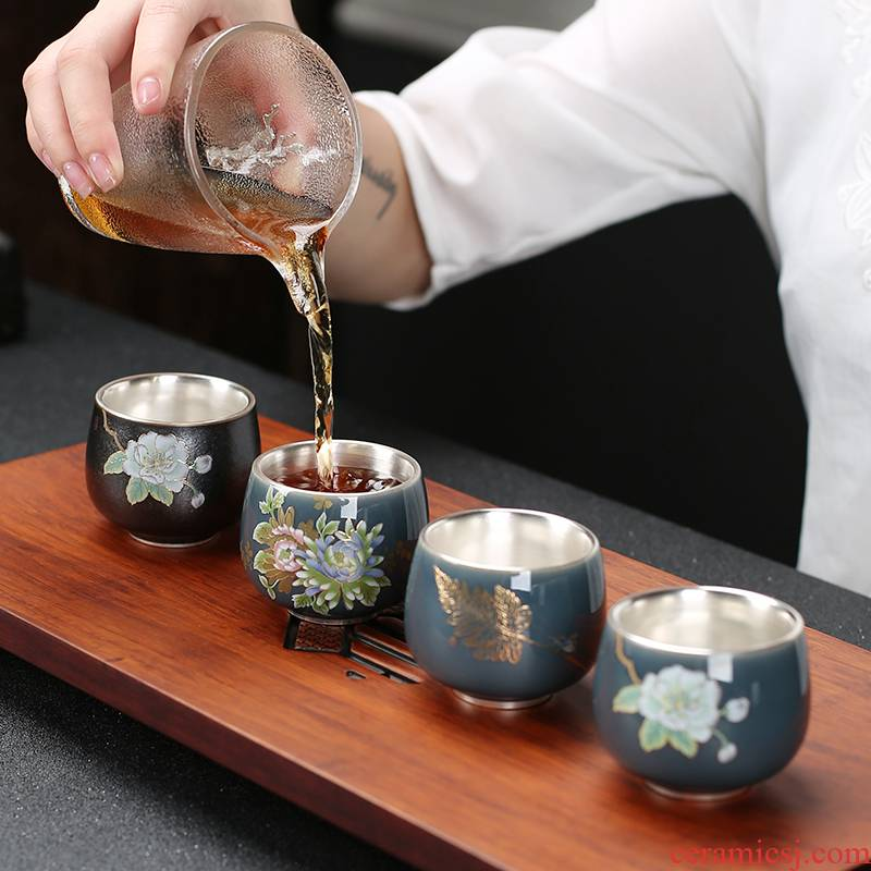 Ceramic tea tasted silver gilding master cup your up, a single cup of large household ji green tea tea cup sample tea cup