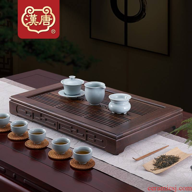 Han solid wood tea tray with simple dry tea table storage type wooden tea sea black rosewood kung fu tea set