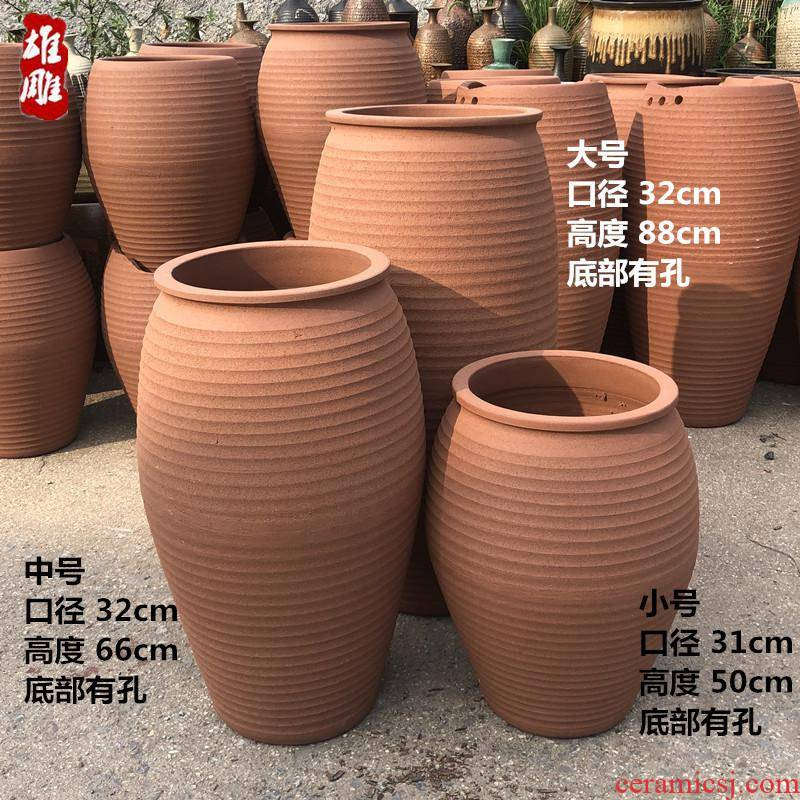 Very large courtyard landscape ground red some ceramic POTS to extra large ceramic composite ceramic cylinder villa soil flowerpot