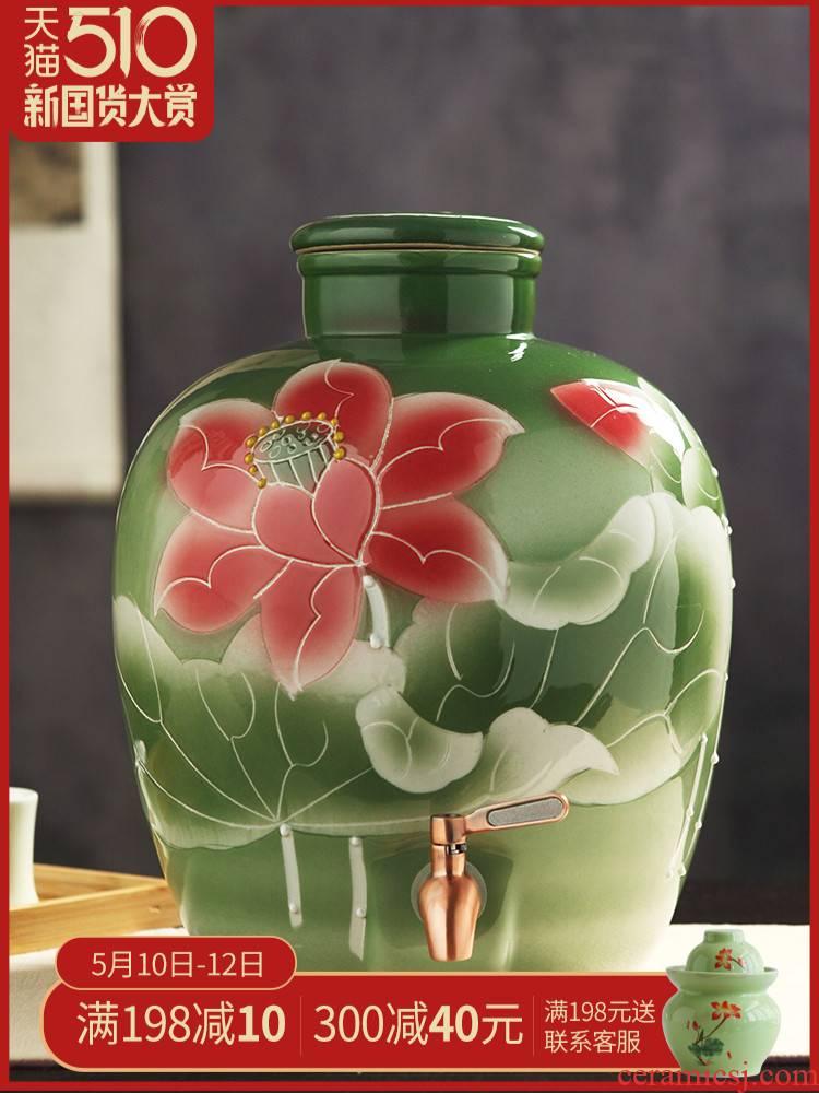 Jingdezhen ceramic jar of archaize seal wine wine jar Bai Cun it household GuanPing 20/30/50 kg