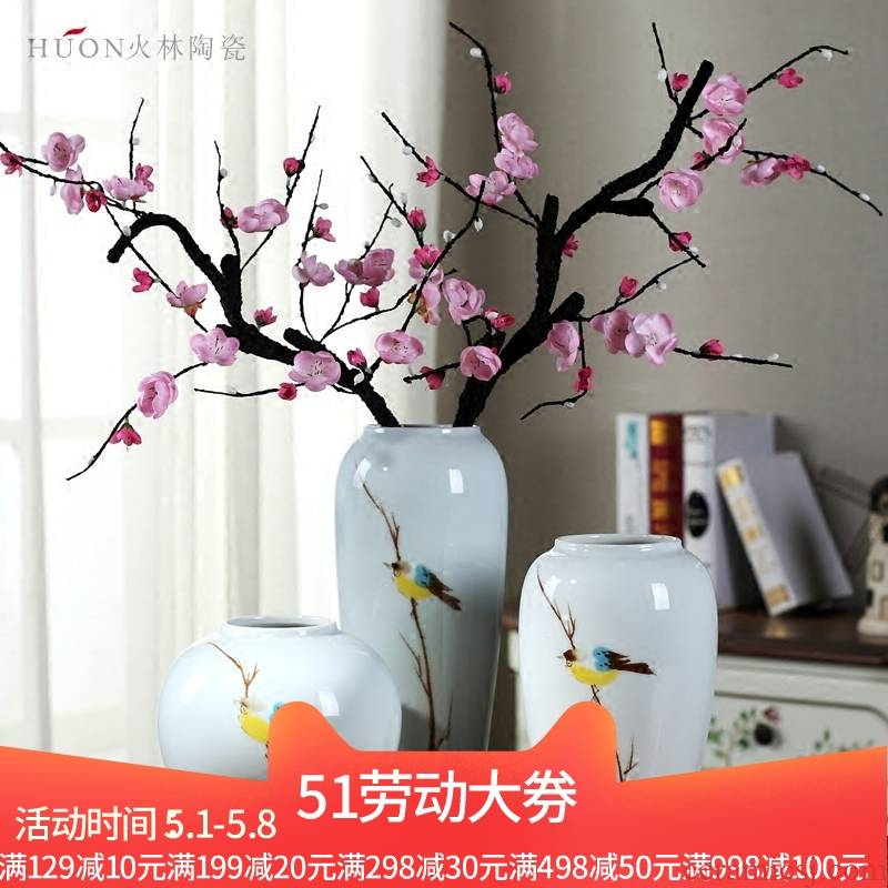 Jingdezhen ceramic creative vase furnishing articles sitting room TV cabinet dry flower arranging flowers I and contracted the new Chinese style decoration