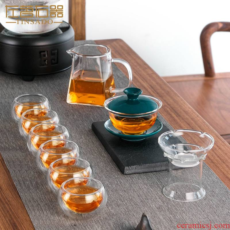 ZuoMing right device glass kung fu tea set home tea mercifully tea tureen tea cups transparent high - temperature contracted