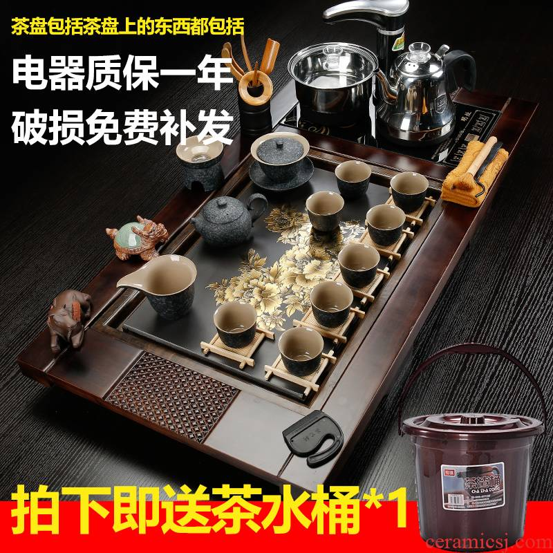Back on sharply stone tea set an induction cooker household package mail violet arenaceous kung fu tea tray was Europe type tea table